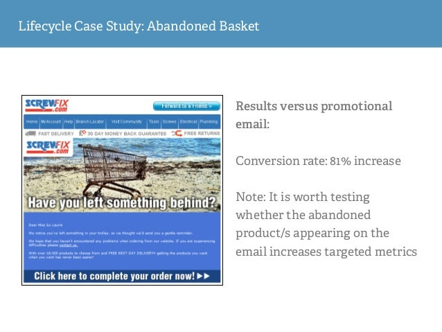 Results versus promotional email: ! Conversion rate: 44% increase ! Note: The conversion rate will always be optimised if ...