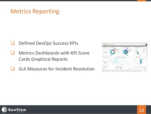 16 Metrics Reporting  Defined DevOps Success KPIs  Metrics Dashboards with KPI Score Cards Graphical Reports  SLA Measu...