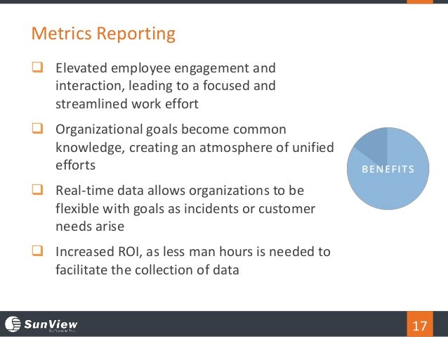 17  Elevated employee engagement and interaction, leading to a focused and streamlined work effort  Organizational goals...