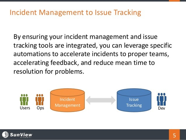 5 Incident Management to Issue Tracking By ensuring your incident management and issue tracking tools are integrated, you ...