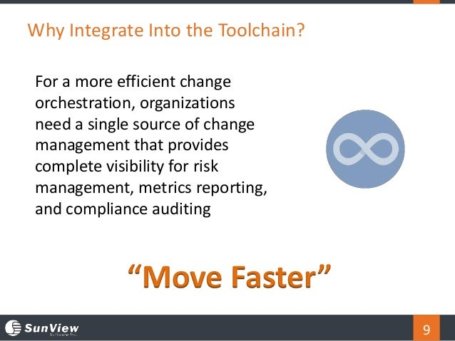 9 Why Integrate Into the Toolchain? For a more efficient change orchestration, organizations need a single source of chang...