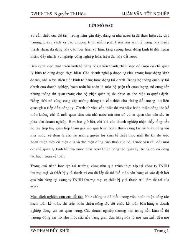 GVHD: ThS Nguyễn Thị Hòa LUẬN VĂN TỐT NGHIỆP SV: PHẠM ĐỨC KHÔI Trang 1 LỜI MỞ ĐẦU Sự cần thiết của đề tài: Trong năm gần đ...