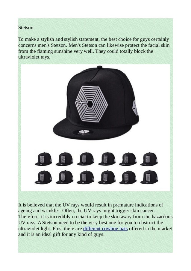 3 kinds of men's hats: stetson, flat caps and fedoras