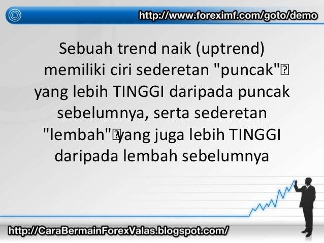 """Sebuah trend naik (uptrend) memiliki ciri sederetan """"puncak""""• yang lebih TINGGI daripada puncak sebelumnya, serta sedereta..."""