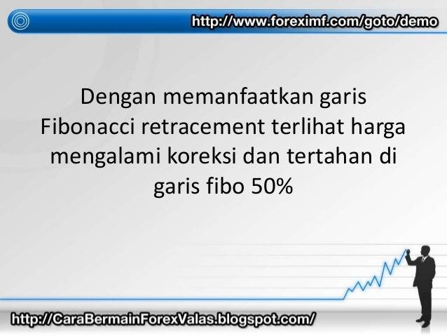 Dengan memanfaatkan garis Fibonacci retracement terlihat harga mengalami koreksi dan tertahan di garis fibo 50%