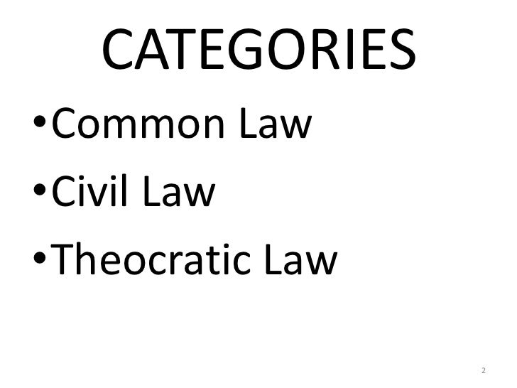 3 categories of law