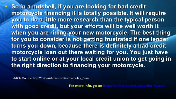 how to get a motorcycle loan with bad credit