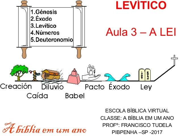 LEVÍTICO Aula 3 – A LEI ESCOLA BÍBLICA VIRTUAL CLASSE: A BÍBLIA EM UM ANO PROFº: FRANCISCO TUDELA PIBPENHA –SP -2017A bíbl...