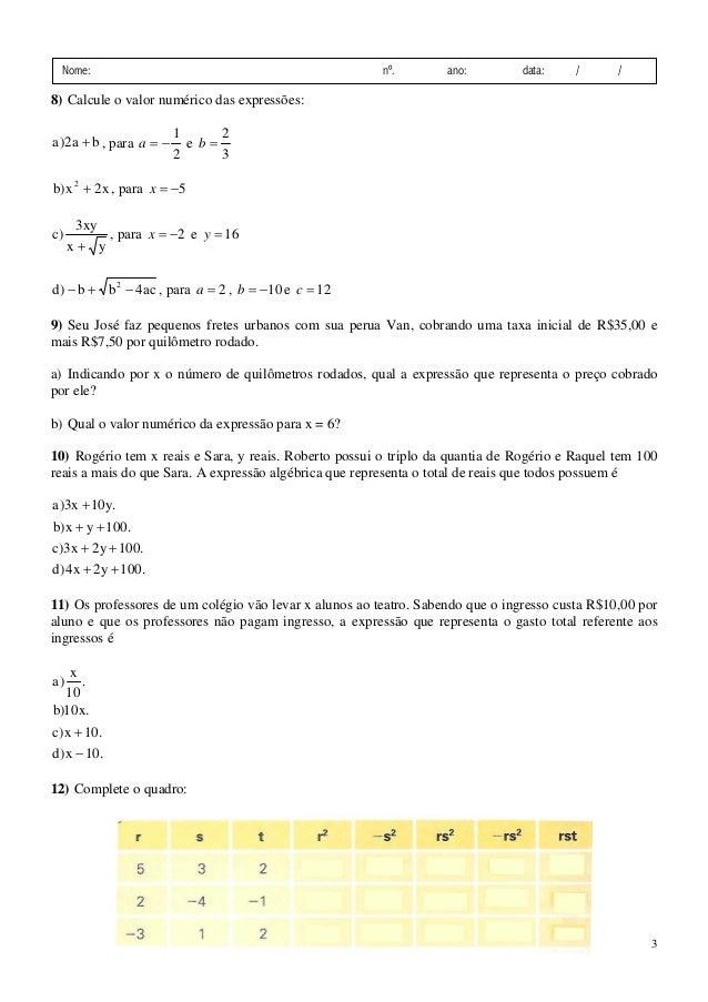 3ª Lista De Exercicios Complementares De Matematica Expressoes Algeb