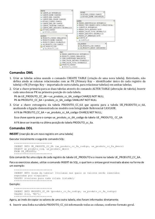 Comandos DML1. Criar as tabelas acima usando o comando CREATE TABLE (criação de uma nova tabela). Entretanto, não   defina...