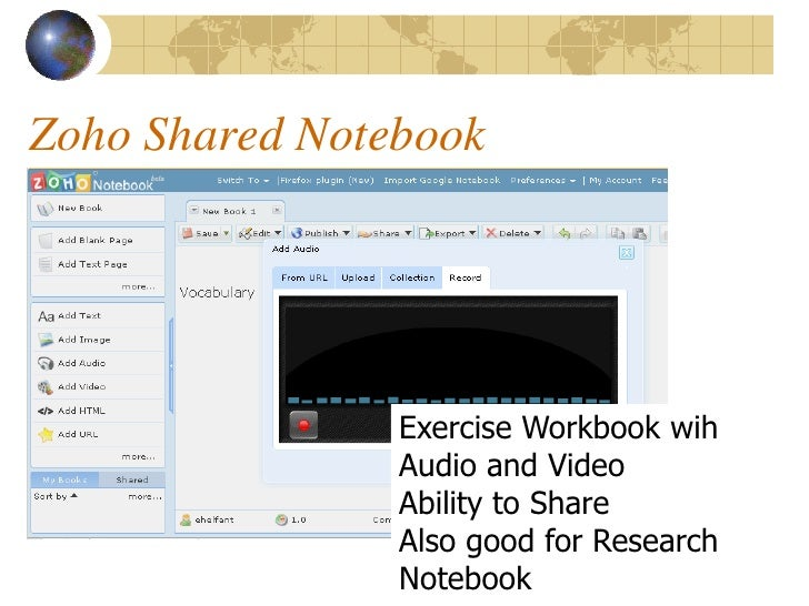 Zoho Shared Notebook                     Exercise Workbook wih                 Audio and Video                 Ability to ...