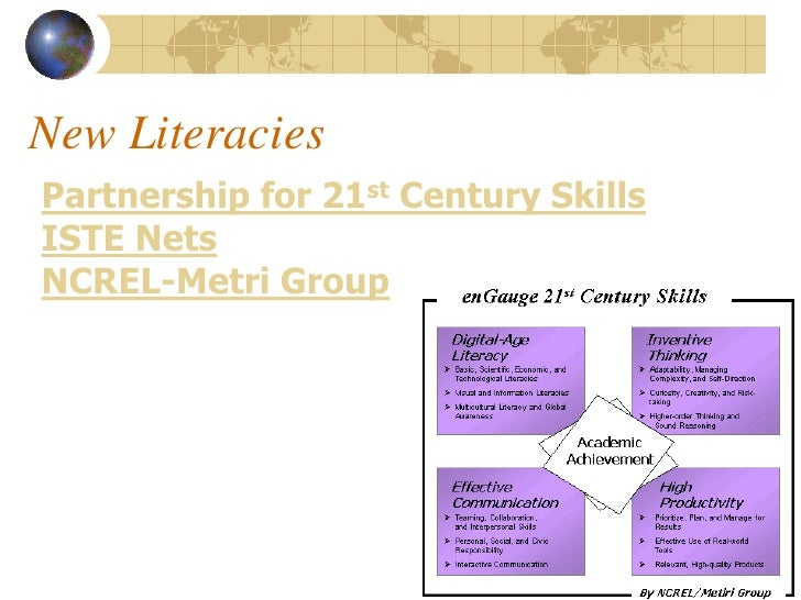 New Literacies Partnership for 21st Century Skills ISTE Nets NCREL-Metri Group