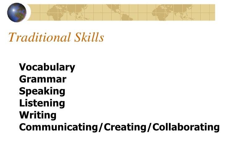 Traditional Skills    Vocabulary   Grammar   Speaking   Listening   Writing   Communicating/Creating/Collaborating