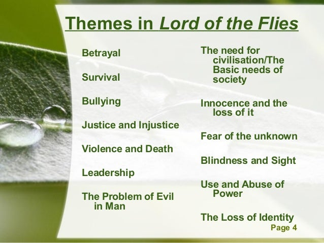 theme of lord of the flies essay The theme of lord of the flies has been questioned and speculated about for decades to answer the critics, golding said that the theme was to.