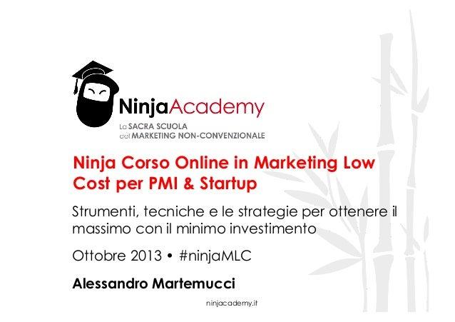 Ninja Corso Online in Marketing Low Cost per PMI & Startup Strumenti, tecniche e le strategie per ottenere il massimo con ...