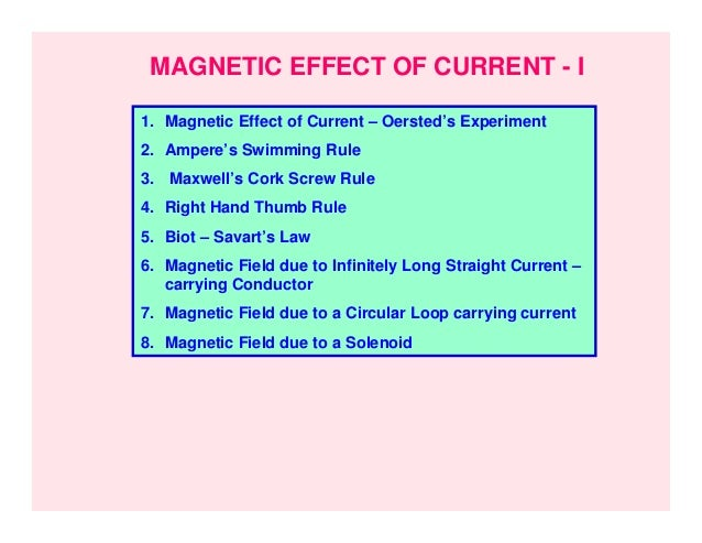 MAGNETIC EFFECT OF CURRENT - I1. Magnetic Effect of Current – Oersted's Experiment2. Ampere's Swimming Rule3. Maxwell's Co...
