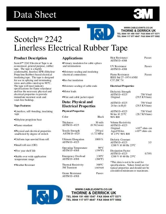 3M 2242 Scotch Tape Data Sheet