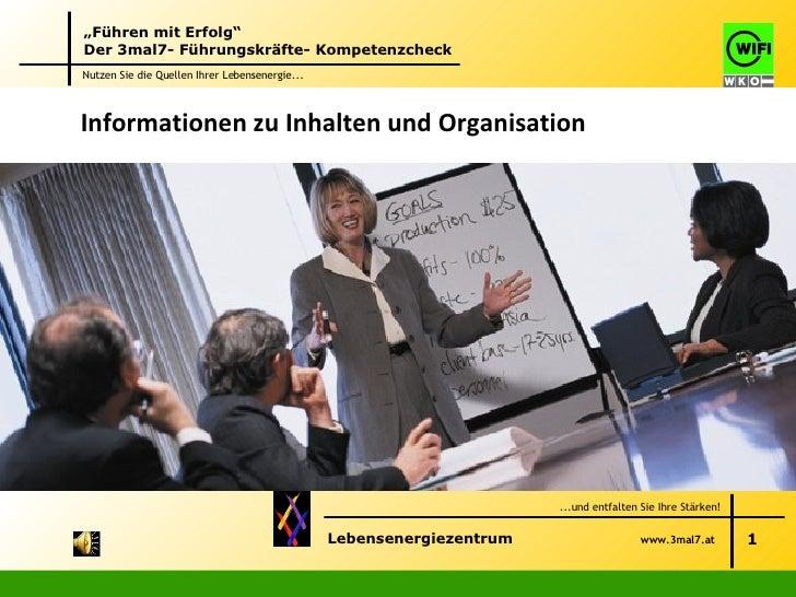 Informationen zu Inhalten und Organisation