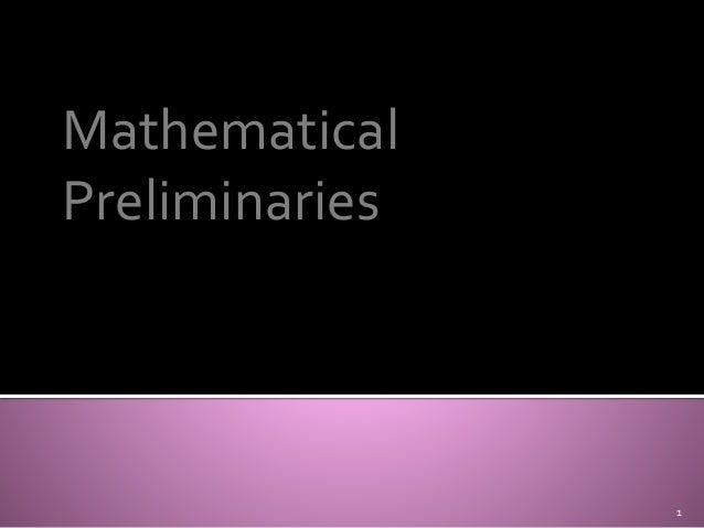 Mathematical  Preliminaries  1