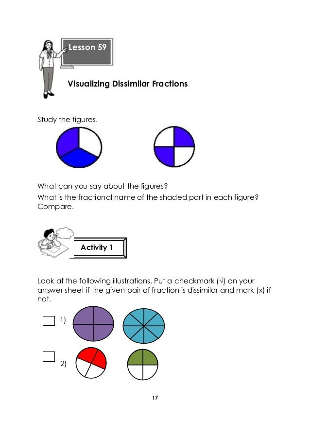 17 Study the figures. What can you say about the figures? What is the fractional name of the shaded part in each figure? C...