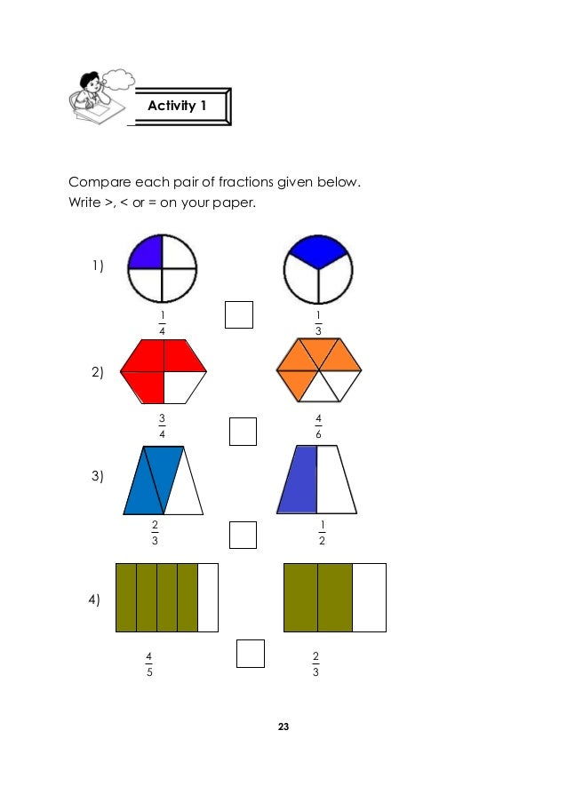 23 Compare each pair of fractions given below. Write >, < or = on your paper. 4 1 3 1 4 3 6 4 3 2 2 1 5 4 3 2 Activity 1 1...