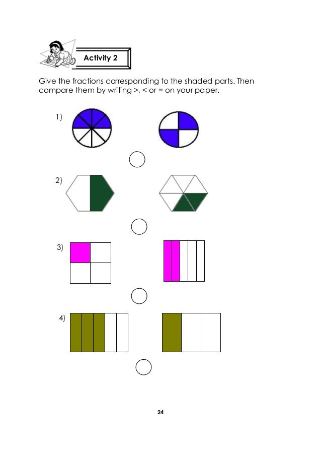 24 Give the fractions corresponding to the shaded parts. Then compare them by writing >, < or = on your paper. Activity 2 ...
