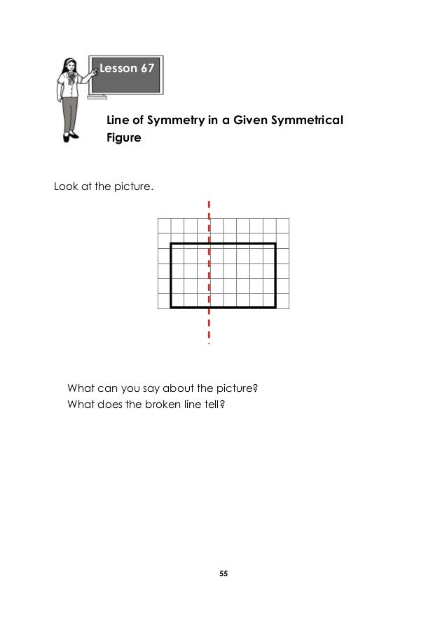 55 Look at the picture. What can you say about the picture? What does the broken line tell? Lesson 67 Line of Symmetry in ...