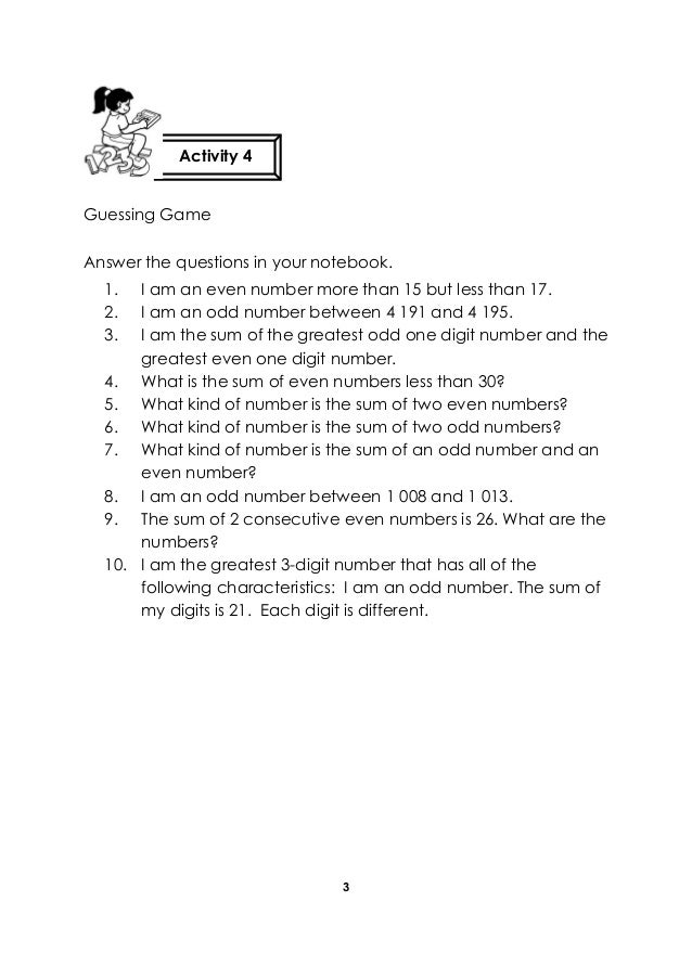 3 Guessing Game Answer the questions in your notebook. 1. I am an even number more than 15 but less than 17. 2. I am an od...