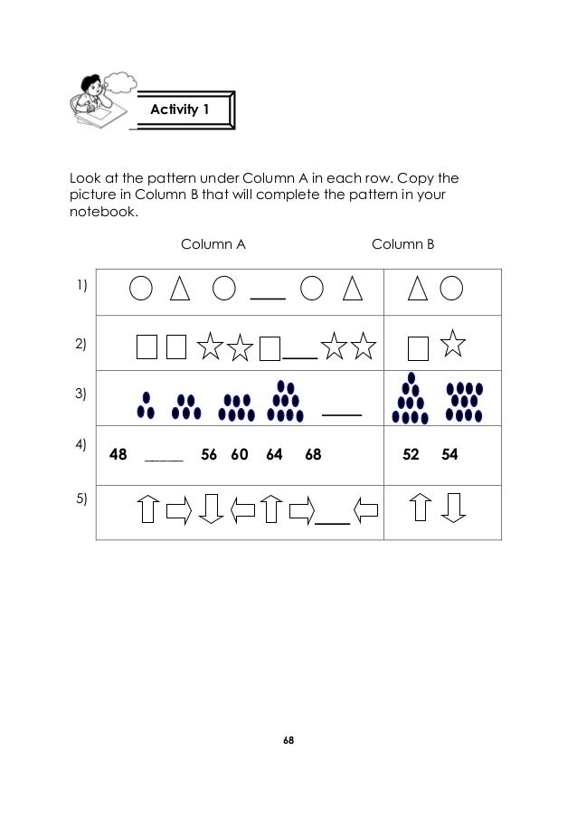 68 Look at the pattern under Column A in each row. Copy the picture in Column B that will complete the pattern in your not...