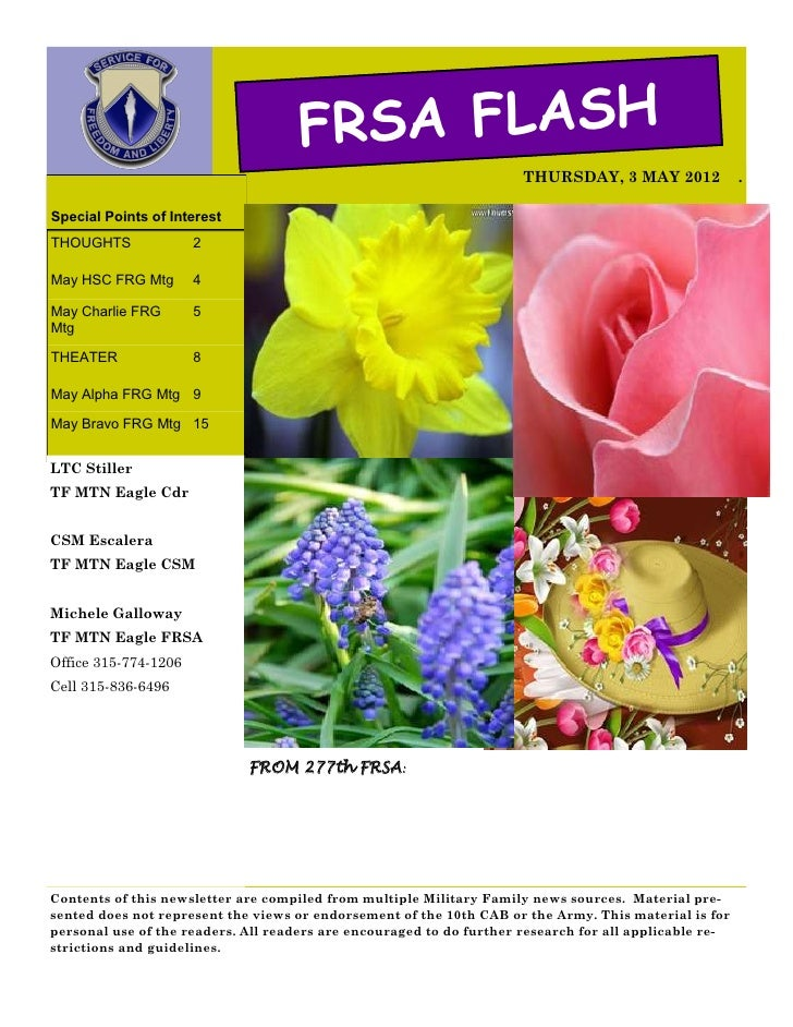 FRSA FLASH                                                                      THURSDAY, 3 MAY 2012              .Special...