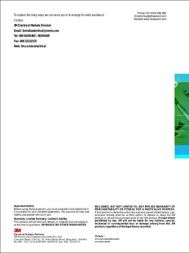 3M cable and electrical products catalogue and 3M Cable