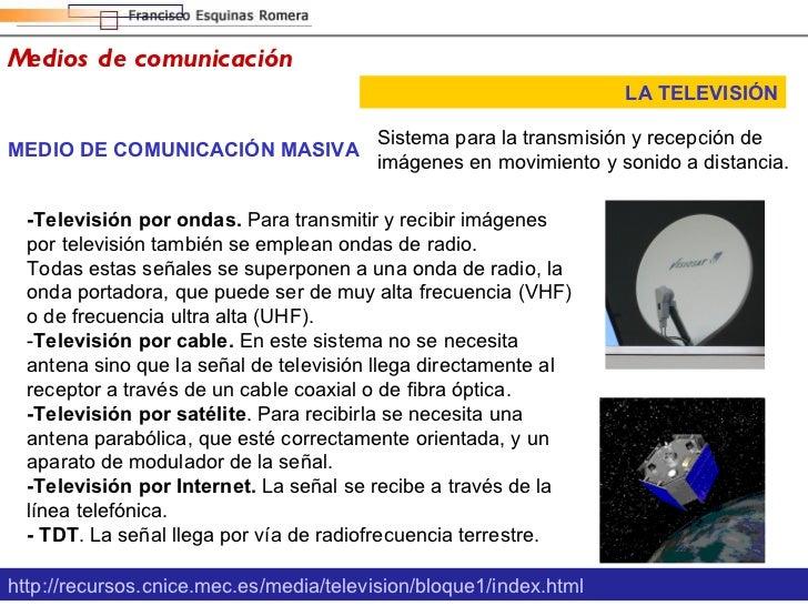Medios de comunicación LA TELEVISIÓN MEDIO DE COMUNICACIÓN MASIVA Sistema para la transmisión y recepción de imágenes en m...