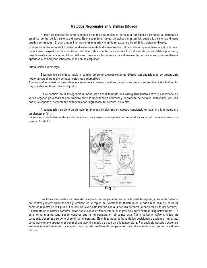 Métodos Neuronales en Sistemas Difusos          Al usar las técnicas de entrenamiento de redes neuronales se permite la ha...