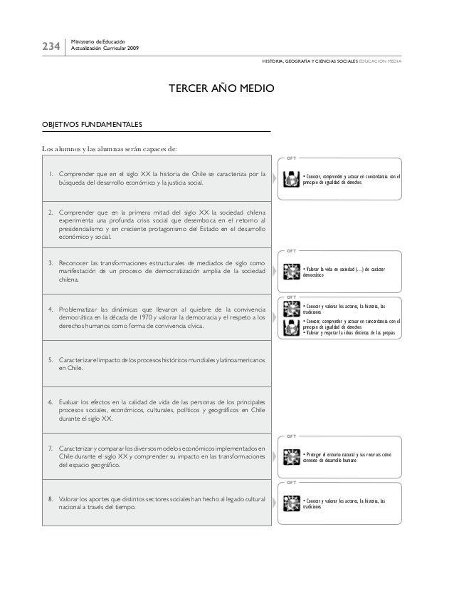 234 Ministerio de Educación Actualización Curricular 2009 historia, geografía y ciencias sociales educación media Tercer a...