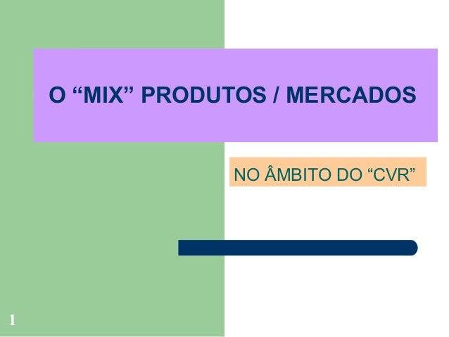 """O """"MIX"""" PRODUTOS / MERCADOS  NO ÂMBITO DO """"CVR""""  1"""
