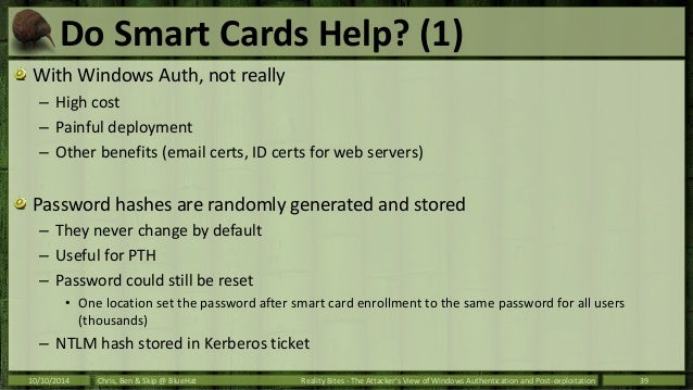 BlueHat 2014 - The Attacker's View of Windows Authentication and Post…