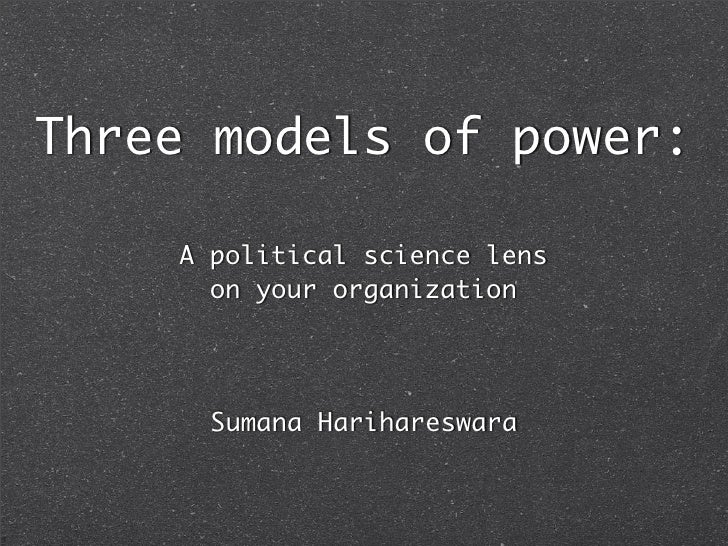 Three models of power:      A political science lens       on your organization           Sumana Harihareswara