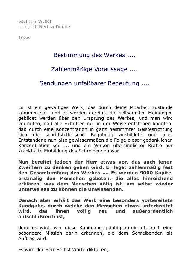 GOTTES WORT ... durch Bertha Dudde 1086 Bestimmung des Werkes .... Zahlenmäßige Voraussage .... Sendungen unfaßbarer Bedeu...