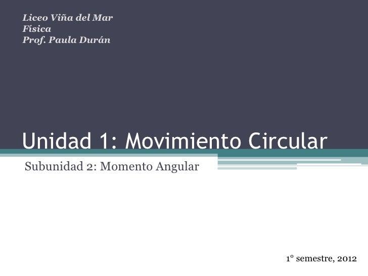 Liceo Viña del MarFísicaProf. Paula DuránUnidad 1: Movimiento CircularSubunidad 2: Momento Angular                        ...