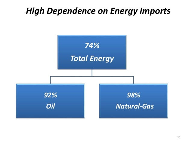 High Dependence on Energy Imports 74% Total Energy 92% Oil 98% Natural-Gas 19