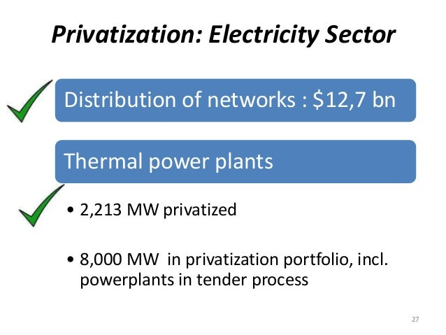 Privatization: Electricity Sector Distribution of networks : $12,7 bn Thermal power plants • 2,213 MW privatized • 8,000 M...