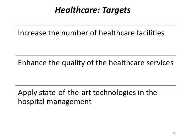 Healthcare: Targets Increase the number of healthcare facilities Enhance the quality of the healthcare services Apply stat...
