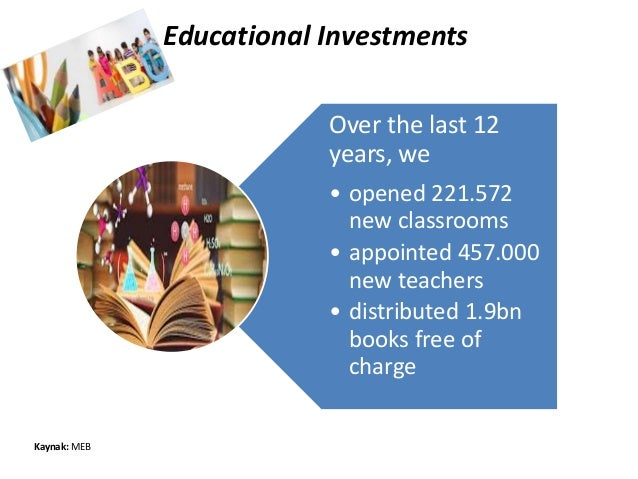 Educational Investments Over the last 12 years, we • opened 221.572 new classrooms • appointed 457.000 new teachers • dist...