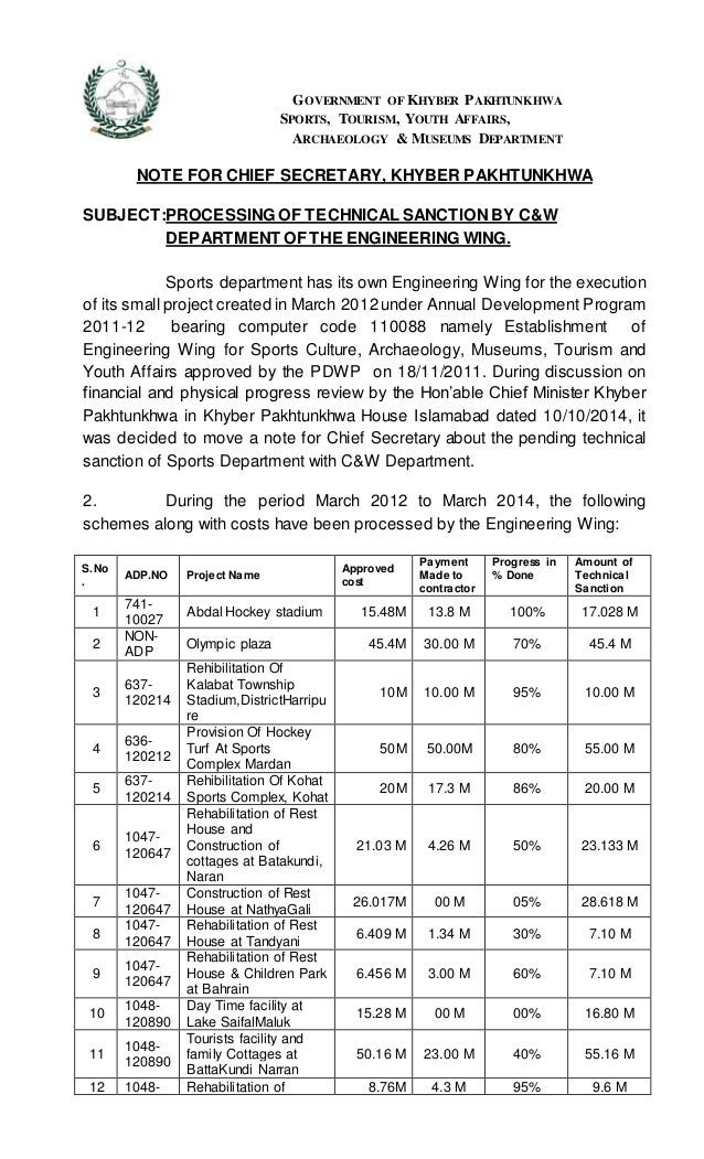 GOVERNMENT OF KHYBER PAKHTUNKHWA SPORTS, TOURISM, YOUTH AFFAIRS, ARCHAEOLOGY & MUSEUMS DEPARTMENT NOTE FOR CHIEF SECRETARY...