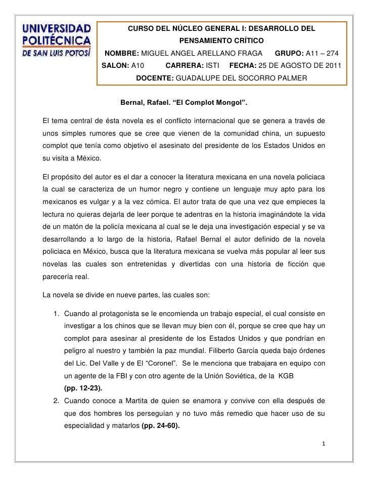 CURSO DEL NÚCLEO GENERAL I: DESARROLLO DEL PENSAMIENTO CRÍTICONOMBRE: MIGUEL ANGEL ARELLANO FRAGAGRUPO: A11 – 274SALON: A1...