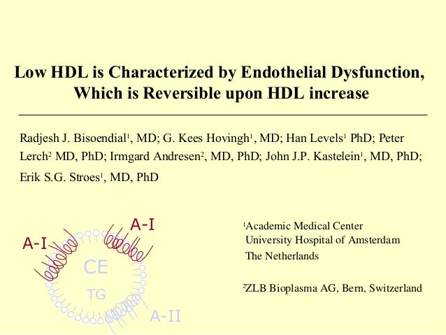 Low HDL is Characterized by Endothelial Dysfunction, Which is Reversible upon HDL increase CE TG A-I A-I Radjesh J. Bisoen...