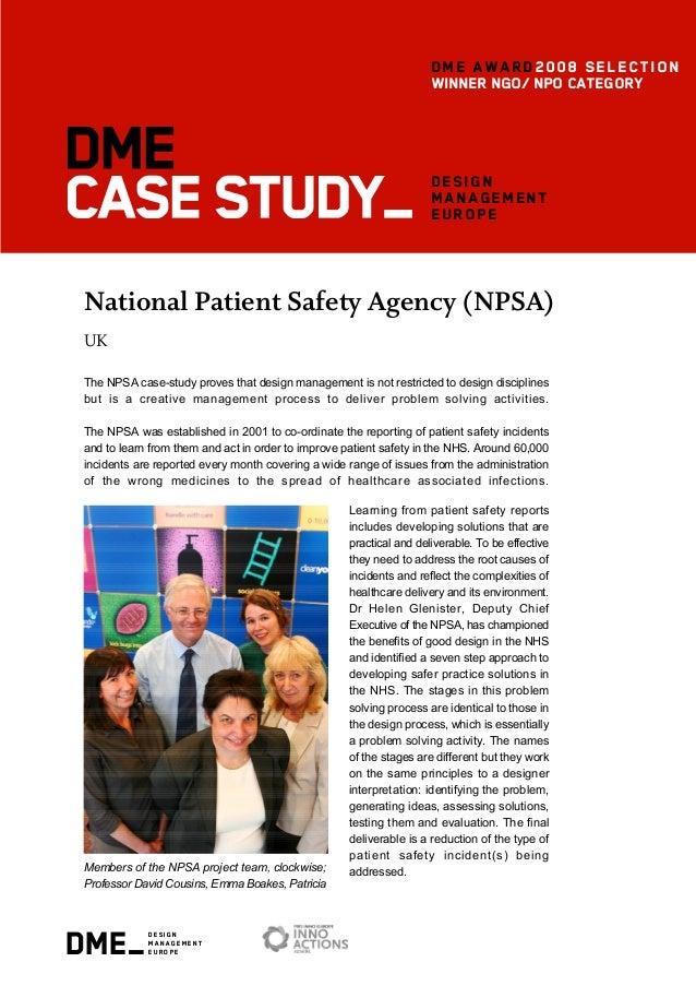 dme_design management europe design management europe National Patient Safety Agency (NPSA) UK The NPSA case-study proves ...