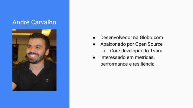 André Carvalho ● Desenvolvedor na Globo.com ● Apaixonado por Open Source ○ Core developer do Tsuru ● Interessado em métric...