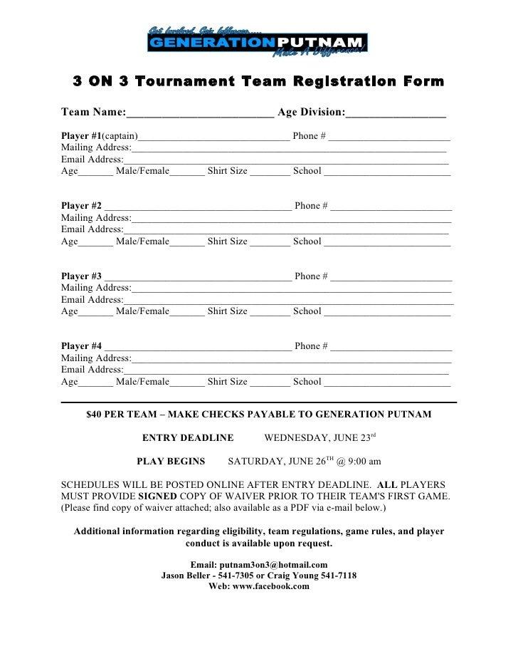 Basketball Tournament Registration Form Template Imagessure