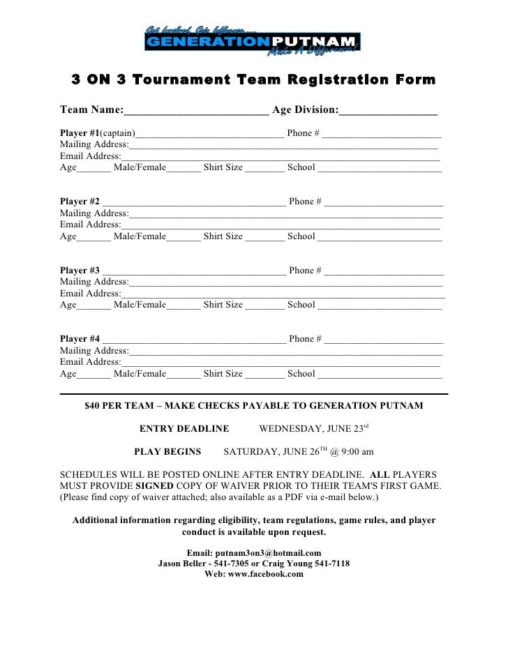 Player registration form template registration ladies gaelic 3 on 3 tournament team registration form pronofoot35fo Choice Image
